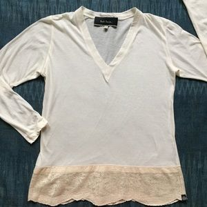 Paul Smith off-white v-neck top with lace hem